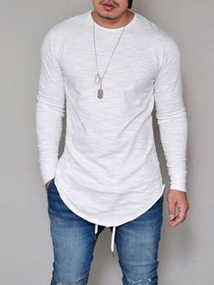 Plus Size Men Fashion Casual Slim Elastic Soft Solid Long Sleeve Men T Shirts Male Fit Tops Tee Longline t-shirt Tee Shirt Homme, T Shirt, Denim Shirt, Shirt Men, Mode Cool, Streetwear, Style Casual, Style Men, Men Casual