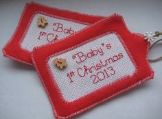Baby's first Christmas - traditional colours.