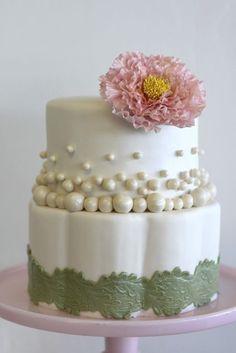 Unique Pearl Peony & Sage Green Wedding Cake!