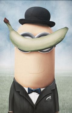 Minions meet Magritte in a spoof on his painting, The Son of a Man.