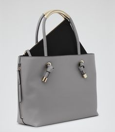 Womens Grey Structured Open-top Tote - Reiss Hawker