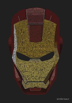 """Iron Man Typography Art (Deep Grey)"" by andersaur 