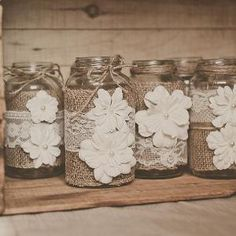 10 Lace and burlap, wedding centerpieces. Lace and burlap wedding. Rustic wedding, barn wedding. Mason jar. by msouggia