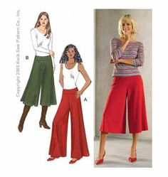 Wide Leg Knit Pants Pattern from Kwik Sew. Would be great with stretchy lace for over swimsuit, or plain knit for work! K3384