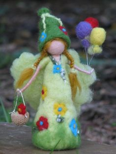 Items similar to Spring doll Art doll Needle felted doll Fairy with butterflies Waldorf inspired Fantasy doll Home decoration soft sculpture on Etsy Happy Birthday Fairy, Diy Laine, Felt Angel, Fairy Gifts, Doll Home, Felt Fairy, Waldorf Dolls, Fairy Dolls, Felt Toys
