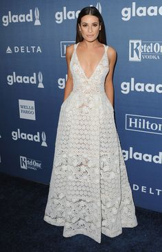 Actress Lea Michele in ELIE SAAB Ready-to-Wear Spring Summer 2016 at the 27th annual GLAAD Media Awards in Los Angeles.