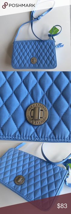"""NWT Vera Bradley Quilted Crossbody 💙 New with tags, Vera Bradley Turnlock Quilted Crossbody. Color is Sky Blue. Adjustable Faux leather trim and straps. Multiple pockets and zipper inside. Measures 9.5"""" width / height 6"""" / maximum depth 2.5"""". From a smoke free home. Vera Bradley Bags Crossbody Bags"""