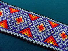 RESERVE LISTING Huichol Bracelet Free Ship Red and by ManoDeGato