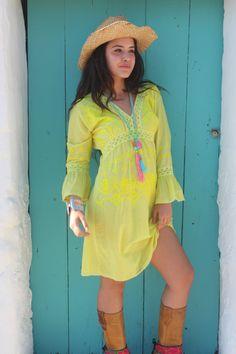 Boho lemon dress by AUROBELLE on Etsy