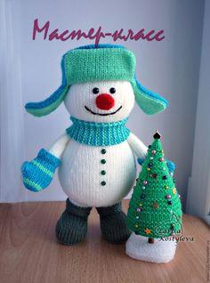 Купить МК Снеговик с ёлкой - белый, спицы, снеговик, снеговик спицами, снеговик вязаный