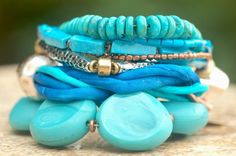 XOGALLERY BRACELETS | ... Blue Glass, Silk and Exotic Metals Multi-Strand Bracelet | XO Gallery