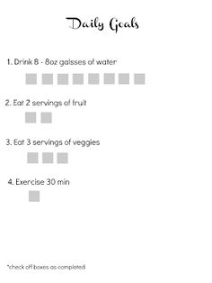 Easy Goal Sheet {for aiding weight loss} - {I Love} My Disorganized Life