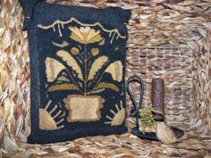 Primitive Punch Needle Coxcomb & Tulip by earlythreadwork on Etsy, $54.00