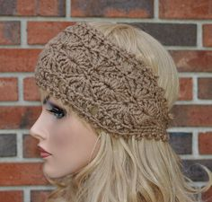 Hand Crocheted Headband,Crochet Ear Warmer, Handmade accessory for women, Warm Brown ,Style 1
