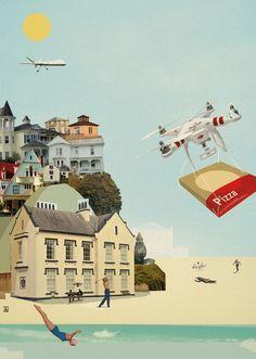 Drones are the future.  #AyalaTal  #illustrator #illustration #collage #art #artist #print #digital  #drones