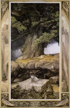 """""""Mabinogion"""" Alan Lee illustration to """"Owain: The Lady of the Fountain"""" (Chwedl Iarlles y Ffynnon) Alan Lee, Art And Illustration, Book Illustrations, Into The West, Celtic Mythology, Hobbit, Middle Earth, Faeries, Illustrators"""