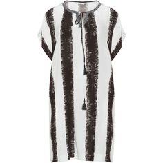 Mat White / Black Plus Size Tassel detail striped dress (1.339.630 IDR) ❤ liked on Polyvore featuring dresses, plus size, white, white dresses, white bohemian dress, plus size white dress, white knee length dress and boho dresses