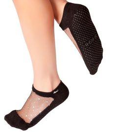 Shashi Star Women's Socks - Coolmax Mesh Barre Socks - iridescent barre socks with grippers