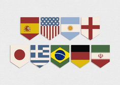 Printable World Cup Country Flags Pennant Banner -- Vintage, World Cup Party, Football, Soccer, Brazil World Cup, Flags of the World, Europe...