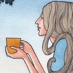 Morning Cup Print of original painting watercolor drawing art print By Jonathan Day on etsy #JonathanDayArt