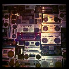 Cool bar with wall of old school boom boxes  http://www.via.me/kevinlong