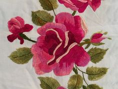 Large Antique Embroidered Needlework Raised Silk Crewel On Cotton Roses Panel 6