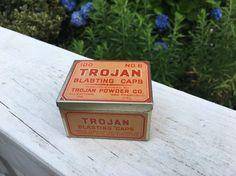 Trojan Blasting Cap Tin, 100, No. 6, Trojan Powder Company, Allentown, PA NOS!    eBay