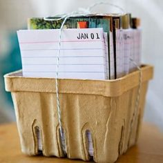 """A spin on giving someone a traditional journal... add 12 vintage postcards/photos/etc. (one for each month), and a blank index card for each day of each month with the date stamped in the corner. Then on each day, they fill in one line about what they did that day. Potentially this box could hold a couple decades of """"journaling""""!"""