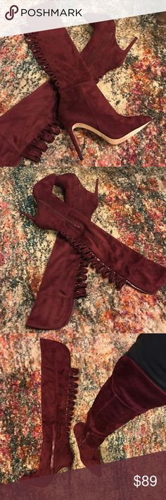 "Suede over the knee stiletto boots New- burgandy suede over the knee stiletto boots. 3"" heel. Super hot with the cut outs on the back Aldo Shoes Over the Knee Boots"