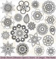 Doodle Flowers Clipart and Vectors doodle flower floral mandala tattoo hand drawn drawing clipart clip art vector decoration decorative ornament nature silhouette sketch cute doodle flower mandala flower buddhist Art Doodle, Doodle Drawings, Sketchbook Drawings, Fashion Sketchbook, Mandalas Painting, Dot Painting, Doodle Patterns, Zentangle Patterns, Easy Zentangle