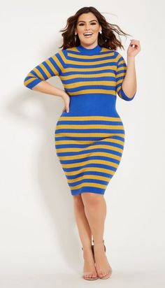 df76bbcb6622 Plus Size Blue and Gold Striped Sweater Dress - My sweater dress takes to  the next