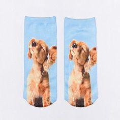 4 pairs inDOstyle 3D cartoon sock pug boo bulldog female short funny print cut dog socks for women casual socks ANI02