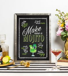 Mojito Print  Cocktail Print  Gifts for Him  Gifts for Her
