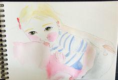 Watercolor sketch breastfeeding.