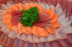 Fresh Sashimi Platter with Ahi, King Salmon & Hamachi. By En Fuego Grill & Catering Hawaii King Salmon, Sashimi, Platter, Catering, Grilling, Hawaii, Japan, Foods, Fresh