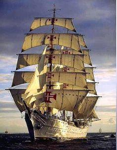 Navio escola Sagres - Portugal Shared by Motorcycle Fairings - Motocc Tall Ships, Hanse Sail, Old Sailing Ships, Images Gif, Yacht Boat, Sail Away, Wooden Boats, Water Crafts, Portuguese