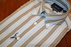 Faconnable  Bengal Striped Sport Shirt Beige | #Mondo #Uomo #Naples #Fashion