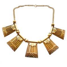 vintage joseff of hollywood art deco necklace. Art Deco Necklace, Art Deco Jewelry, Jewelry Design, Gold Jewelry, Jewlery, Vintage Costume Jewelry, Vintage Costumes, Fashion Necklace, Fashion Jewelry