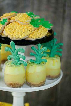 Pin for Later: A Fantastically Fruity Pineapple-Themed Birthday Bash Lemon Meringue Pies Flamingo Party, Hawaian Party, Jenny Cookies, Lemon Meringue Pie, Tropical Party, Cupcakes, Luau Party, Birthday Party Themes, Birthday Bash