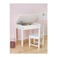 IKEA - SUNDVIK, Children's desk, , A desk for drawing, studying, reading and doing hobbies that also fits in a small space.The adjustable lid-stay prevents the lid from accidentally dropping and hurting little fingers or hands.Storage space under the lift-up top with a large compartment that fits A3 size papers and a smaller compartment for pens and pencils.