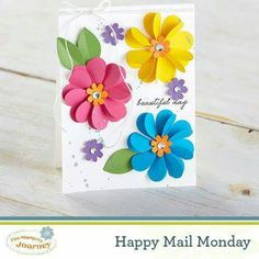 Create unique gifts, custom cards and fun decorations with Fun Stampers. Discover new ideas for your do-it-yourself paper arts projects. Flower Birthday Cards, Simple Birthday Cards, Flower Cards, Handmade Greetings, Greeting Cards Handmade, Paper Art Projects, Card Making Templates, Paper Flowers Craft, Butterfly Crafts