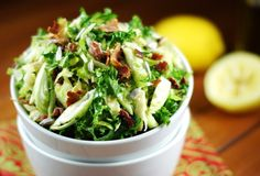 Shredded Brussels Sprouts Salad    The fabulous combination of fresh lemon juice, maple syrup, and whole-grain mustard in this salad's dressing is amazing ... and completely takes away any of the 'harsh' flavor raw Brussels sprouts or kale can have.  Gone.  Completely.