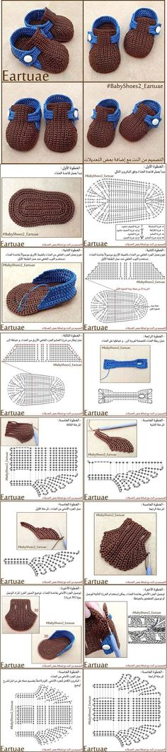 Crochet Child Booties Crochet shoe Crochet Baby Booties Supply : Zapatito a crochet. Crochet Diy, Mode Crochet, Crochet Chart, Crochet For Kids, Crochet Stitches, Crochet Patterns, Crochet Diagram, Baby Patterns, Knitting Patterns