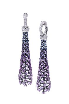 Cantemessa ~ Premiere Earrings with white diamonds, pink, violet and blue sapphires