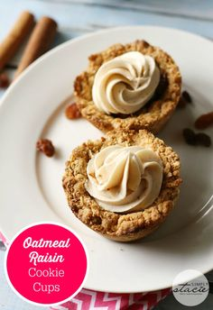 Oatmeal Raisin Cookie Cups - Nestled inside an oatmeal cookie cup is a layer of raisin pie filling topped with cinnamon cream cheese. This dessert recipe is out of this world!