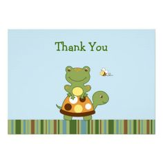 Pond Friends Frog Turtle Thank You Note Cards Custom Invitations