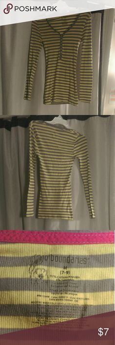 Stretch cotton stripped shirt Stretchy, comfy shirt in fun lime yellow color! Size medium, fits me and I'm a size six. Worn twice, great condition! No Boundaries Tops Tees - Long Sleeve