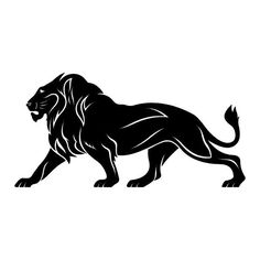 Big Male Lion Walking Profile Vinyl Wall Art Sticker Tattoo Style Design Decal #Contemporary