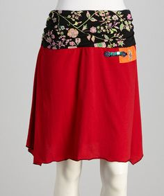 Another great find on #zulily! Red & Black Floral Skirt - Women by Coline USA #zulilyfinds