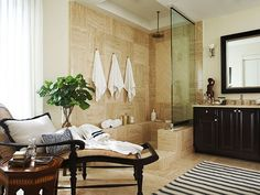 Beautiful House Makeover - Traditional Home® Like the placement of the towel hooks. British Colonial